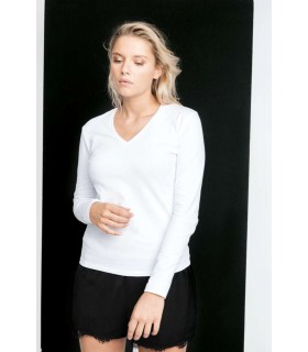 Tricou Femei Kariban Long Sleeve V-Neck