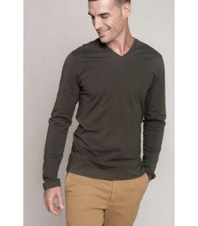 Tricou Barbati Kariban Long Sleeve V-Neck